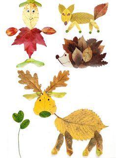 lavoretti con foglie autunno animali