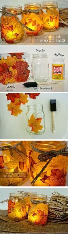 lavoretti autunno con foglie vasetto