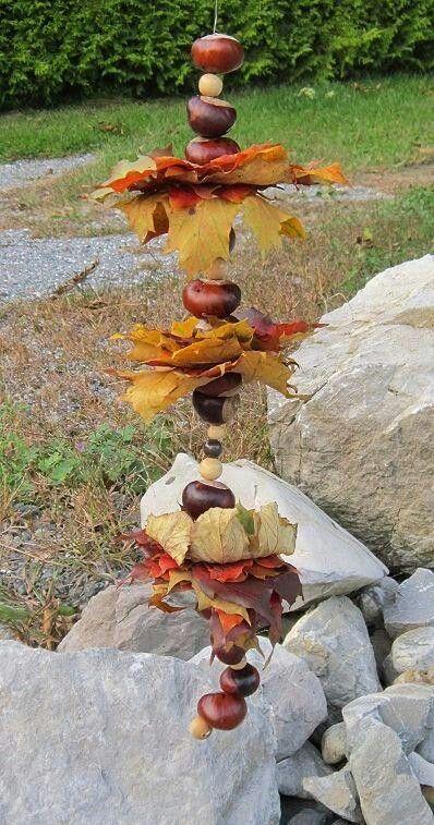 lavoretti autunno foglie scacciapensieri