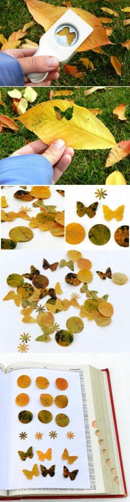 lavoretti autunno con foglie tagliate